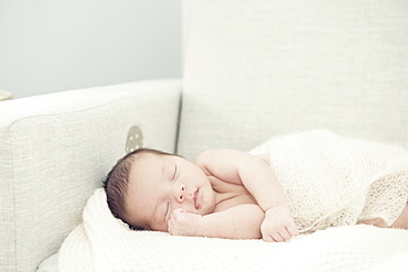 Newborn Baby Girl Asleep On Rocking Chair With Hand Nestled Up Near Face, Toronto, Ontario, Canada