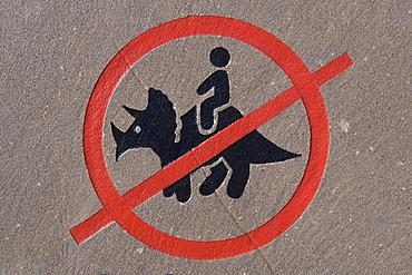 A No Dinosaur Riding Permitted Sign, Drumheller, Alberta, Canada