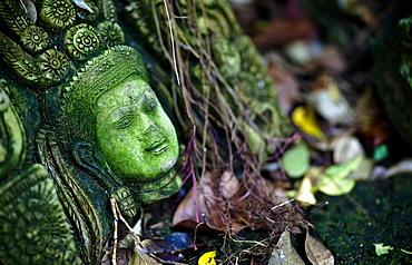 Terra-Cotta Sculpture Of A Thai God Or Perhaps A Temple Attendant Lies In Ruin, Chiang Mai, Thailand