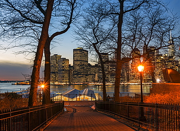 Lower Manhattan Skyline At Twilight, Pineapple Street Entrance To Brooklyn Promenade, Brooklyn, New York, United States Of America