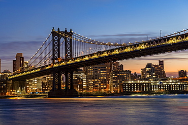 Manhattan Bridge At Twilight, Brooklyn, New York, United States Of America