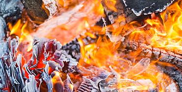 Close-up of a burning bonfire, Langley, British Columbia, Canada