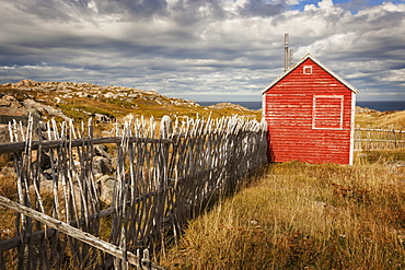 A small red shed beside a wooden picket fence along the coast, Newfoundland, Canada