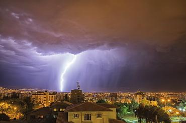 Lightning Strike Over Cochabamba, Cochabamba, Bolivia