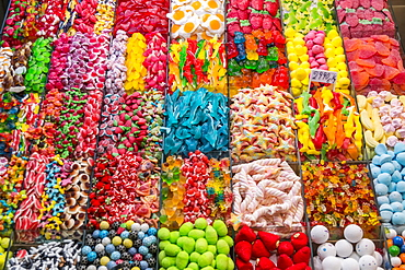 Variety Of Candy At Boqueria Market, One Of The Most Famous Markets Around Spain And The Most Famous In Barcelona, Barcelona, Catalonia, Spain