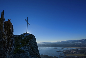 Cross On Mount Tzouhalem, Cowichan Bay, On A Winter Day, British Columbia, Canada