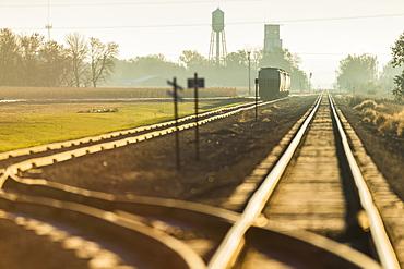 Morning Light On Railroad Tracks Near Groton, South Dakota, United States Of America