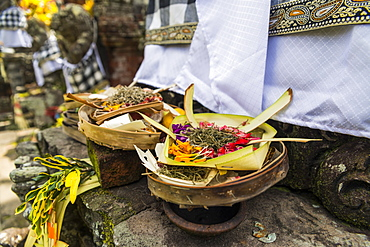 Offering At A Traditional Hindu Temple, Bali Island, Indonesia