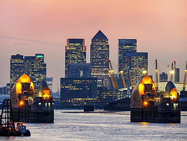 Canary Wharf Skyline From Woolwich, London, England