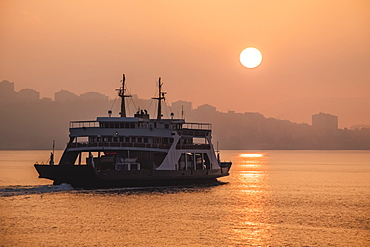 Ferry In The Strait Of Dardanelles At Sunrise, Canakkale, Turkey