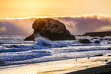 Seashore At Sunset, San Simeon State Park, California, United States Of America