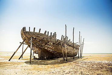 Wrecked Fishing Boat On Vilanculos Beach, Bazaruto Archipelago, Mozambique