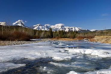 Mountain River Melting In Spring, Highwood River, Kananaskis, Alberta, Canada