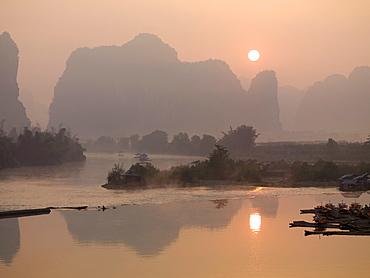 Sun In The Haze Above The Mountains, Yangshou, Guangxi, China