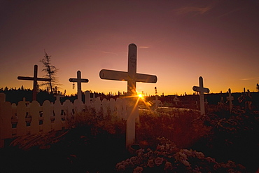Inuvik, Northwest Territories, Canada; Cemetery In The Arctic At Sunset