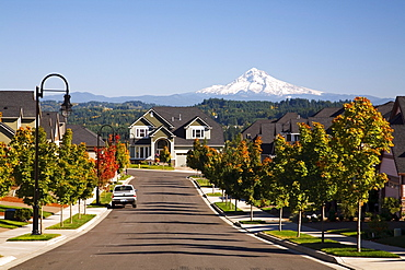 Oregon, United States Of America; Autumn Colors Along A Street With New Homes And A View Of Mount Hood