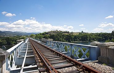 Rail Tracks On Top Of Eiffel Bridge Looking Towards Portugal; Tui, Pontevedra, Spain