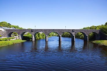 St. Julian'S Railway Bridge Over River Usk; Newport, County Mayo, Ireland