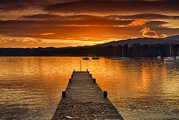 Dock On Lake Windermere At Sunset; Ambleside, Cumbria, England
