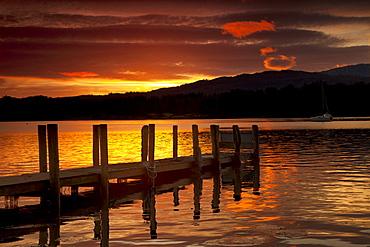 Sunset Over Dock At Lake Windermere; Ambleside, Cumbria, England