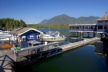 Dock In Front Of Weigh West Marine Resort Restaurant; Tofino, Vancouver Island, British Columbia, Canada