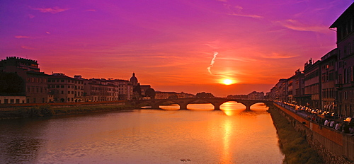 Arno River At Sunset Florence Tuscany Italy