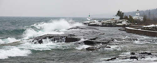 Grand Marais, Minnesota, United States Of America; Large Waves By The Shore In Lake Superior In Winter
