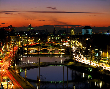 River Liffey, Dublin, County Dublin, Ireland, Four Courts In The Distance