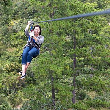 A Woman On A Zip-Line, Copan, Honduras