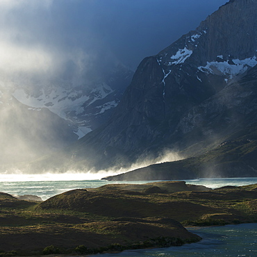Mist Rising Off A Lake In Torres Del Paine National Park, Torres Del Paine, Magallanes And Antartica Chilena Region, Chile