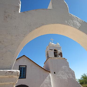 San Pedro De Atacama Church With Archway And Cross, San Pedro De Atacama, Antofagasta Region, Chile