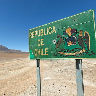 Sign For The Republic Of Chile, San Pedro De Atacama, Antofagasta Region, Chile