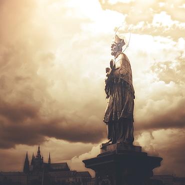 Statue On Karl Bridge, Prague, Czech Republic