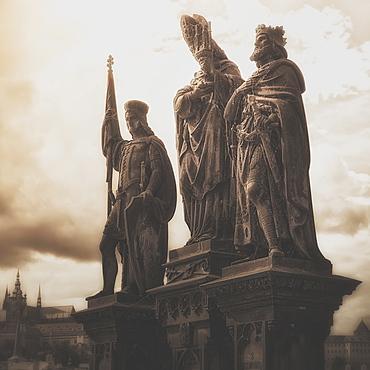 Statues Along Karl Bridge, Prague, Czech Republic