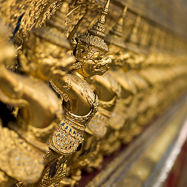 Gold Statues In A Row, Temple Of The Emerald Buddha (Wat Phra Kaew), Bangkok, Thailand
