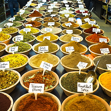 Abundant Variety Of Spices And Rice For Sale At The Arab Market In The Old City Of Jerusalem, Jerusalem, Israel