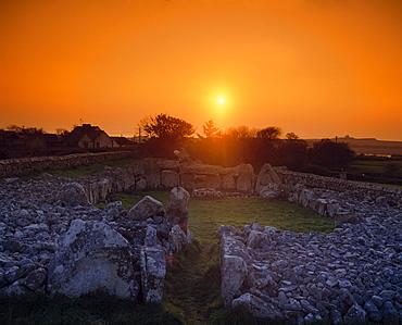 Ring Shaped Old Ruin At Sunset; Ireland