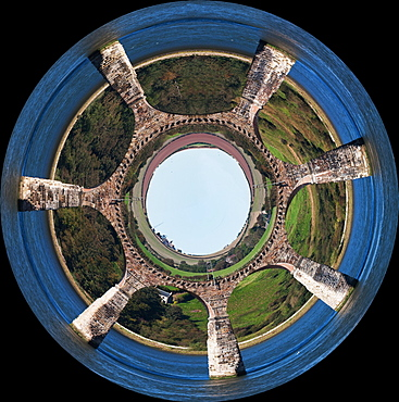 Berwick, Northumberland, England; An Aerial View Of The Land Through A Wheel