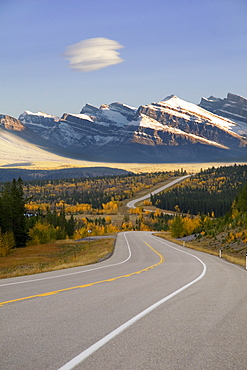 Autumn Evening On Hwy 11, Kootenay Plains, Alberta, Canada