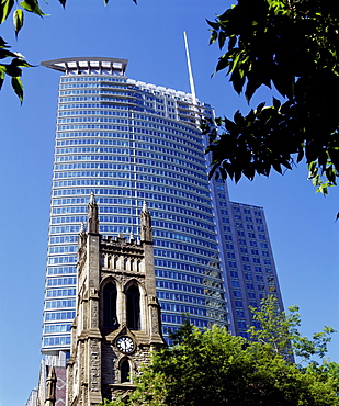 Historic Church Juxtaposed Against Modern Skyscraper, Montreal, Quebec