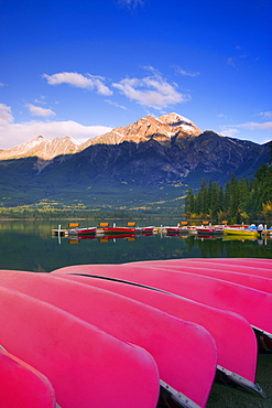 Canoes Docked At Pyramid Lake, Jasper, Alberta, Canada