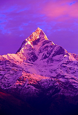 View Of Machhapuchhare At Sunrise From Sarangkot, Annapurna Region, Nepal