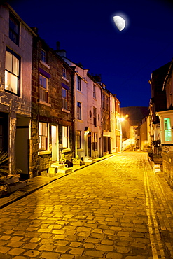 City Street At Night, Staithes, Yorkshire, England