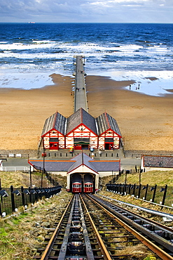 Tram Tracks Leading To Beach, Saltburn, North Yorkshire, England