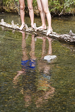 Two Girls Standing On Log In Stream