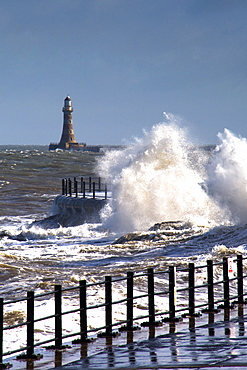 Waves Crashing By Lighthouse At Sunderland, Tyne And Wear, England, United Kingdom