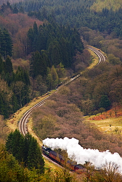 Train On Scenic Landscape, Yorkshire, England