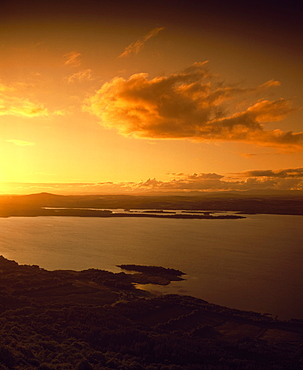 High Angle View Of Landscape And Lake At Sunset, Ireland