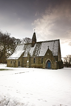 Ford, Northumberland, England, Country Church In The Snow