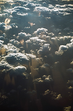 High Angle View Of Low Clouds Over Ocean Water